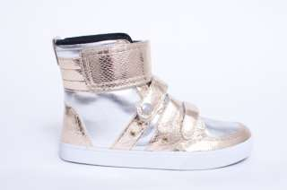 NEW MENS RADII 420 GOLD SILVER SNAKE SKIN HIGH TOP SNEAKERS SHOES SIZE