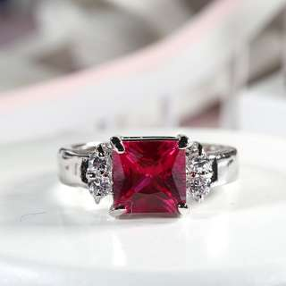 Xmas Gift Red Ruby Garnet White Gold GP Ladies Ring Fashion Jewelry NR