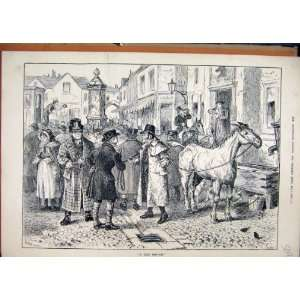 Horse Sale 1882 Street Scene Village Antique Print