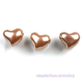 150x Coffee Brown Heart Love Plastic Charms European Beads Fit