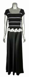 Km Collection Womens Black White Satin Long Cocktail Evening Gown