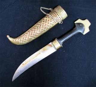 ANTIQUE KNIFE DAGGER INDIA CURVE BLADE Carve Brass CASE