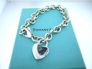 Authentic Tiffany & Co Sterling Silver Heart Lock Charm Bracelet