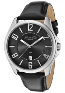 Kenneth Cole Watch KC1708 Mens Black Dial Black Leather