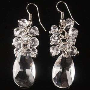 White Crystal Glass Drop Faceted Bead Dangle Earring 1 Pair