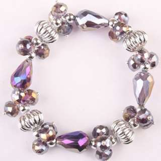 Purple AB Crystal Glass Faceted Bead Necklace Bracelet Earrings 1 Set