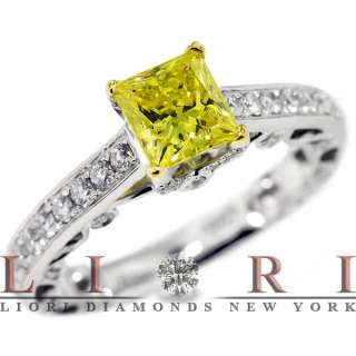 27 CARAT FANCY YELLOW PRINCESS CUT DIAMOND ENGAGEMENT RING 18K GOLD
