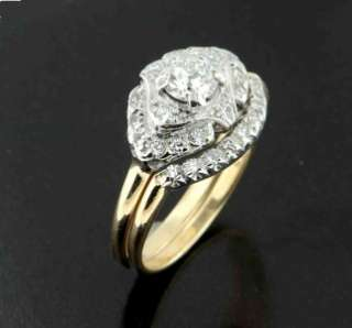VINTAGE 1.05 CARAT EUROPEAN CUT DIAMOND ENGAGEMENT RINGS 14K GOLD