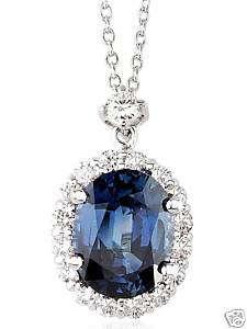 Blue Sapphire Diamond Pendant Necklace 18K White Gold