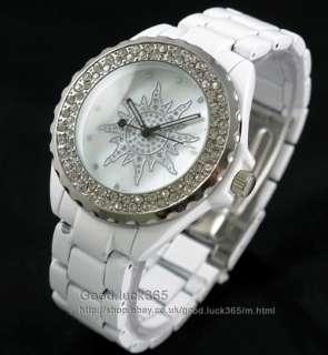 Unisex Diamond White Stainless Quartz Wrist Watch
