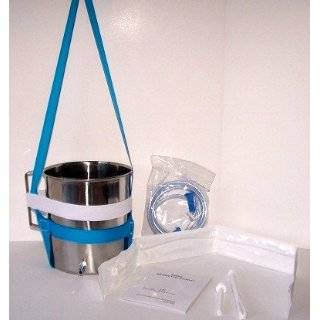 Stainless Steel Enema Kit with PVC Tubing 2 Quart Container. No Latex