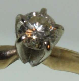 10K Yellow gold round diamond engagement ring vintage