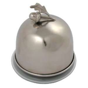 America Retold Antique Nickel and Glass Acorn Domed Butter