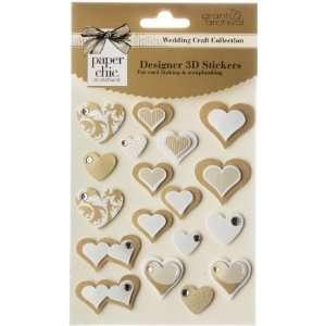 Grant Studios Wedding 3d Heart Stickers gold 3 Pack