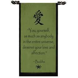 Cotton Love Symbol and Buddha Quote Scroll (Indonesia)  Overstock