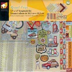 ATD SCRAPBOOK PAGE KIT w/PAPER, STICKERS~ ROAD TRIP