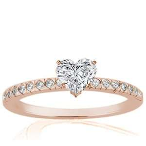 0.85 Ct Heart Shaped Diamond Engagement Ring 14K SI1 GIA