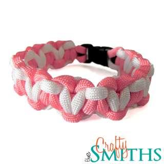 Breast Cancer Awareness 550 Paracord Survival Bracelet   Pink White