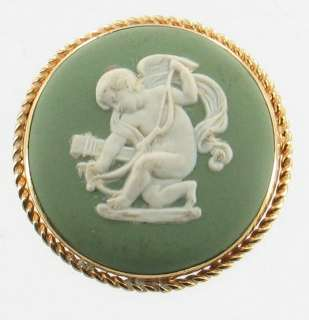 VINTAGE WEDGWOOD GREEN PORCELAIN ANGEL CUPID BOW & ARROW PIN PENDANT
