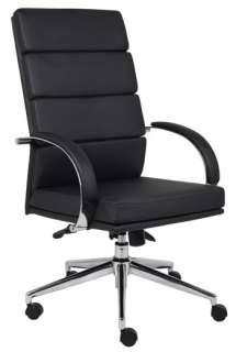 MODERN CONTEMPORARY BLACK & WHITE LEATHER CONFERENCE OFFICE DESK CHAIR