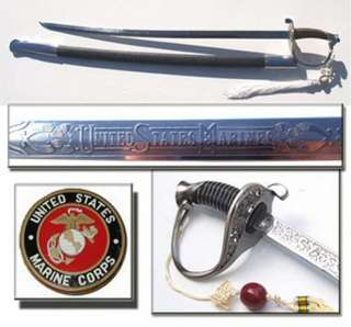 36.5 Marine Corp Engraved Sword  Chrome USMC Sabre (K 0075)