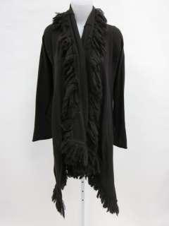 ALICE & OLIVIA Brown Wool Fringe Long Cardigan Sz XS