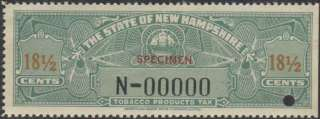 NEW HAMPSHIRE State Revenue Tobacco Tax Stamp SRS NH T25S s/e