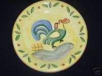 Bella Ceramics Rooster Dinner Plate Green Blue Chicken