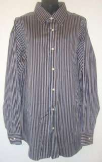 John Mens Blue Brown Stripe Long Sleeve Dress Shirt Size XL EUC #2064