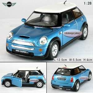 New MINI COOPER S 128 Alloy Diecast Model Car Blue B036