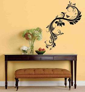 Floral Swirl Flower Branch Vinyl Wall Sticker Decal 5ft