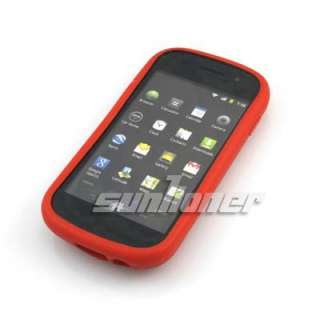 Samsung Nexus S i9020 Silicone Case Cover + Screen Protector . RED