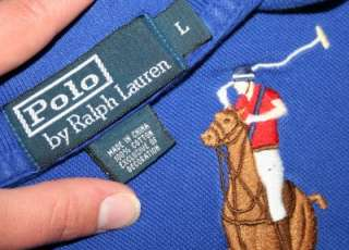 Mens Polo RALPH LAUREN Royal Blue RUGBY Shirt Large L