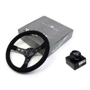 92 95 Honda Civic EG NRG 350MM Suede Steering Wheel + Hub