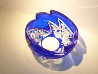 Caesar Crystal Cobalt Blue Cut Bowl Czech Rep Bohemian   Art Glass