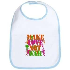 Baby Bib Sky Blue Make Love Not War Peace Symbol Sign