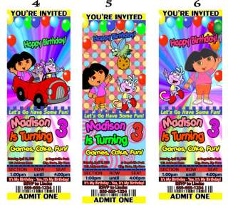Dora The Explorer Birthday Party Ticket Invitations