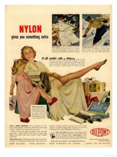 Nylon by DuPont, Nylons Stockings Hosiery, USA, 1940 Premium Poster