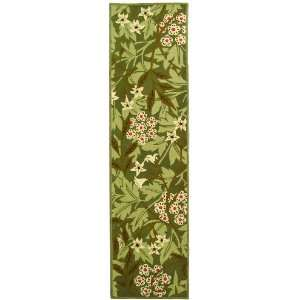 by 8 Feet Hand hookedWool Area Runner, Green and Ivory