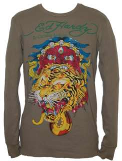 ED HARDY Mens Tiger Monster Long Sleeve Olive Thermal Shirt NWT