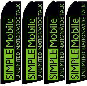 FOUR(4) SIMPLE MOBILE FEATHER BANNER SIGNS FLAGS ONLY