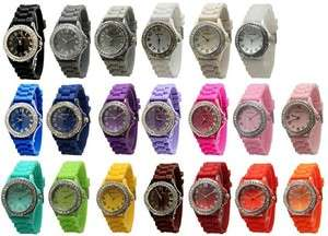 Lot 10 Geneva Silicone Rubber Jelly Designer Watches With Crystals