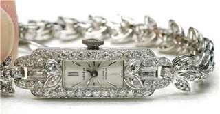 Platinum 14k White Gold & Diamond ladies Cocktail Wristwatch Geneve