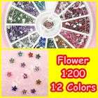 1500 x 3mm Nail Art Rhinestones Glitters Wheel 12Colors