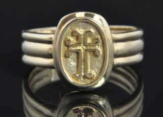 14K Yellow Gold Religious Cross Oval Signet Fluted Ring 9.75