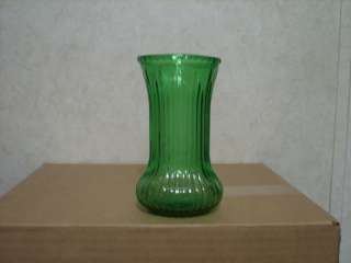 BRODY GREEN GLASS VASE RIBBED SIDES CLEVELAND, OH