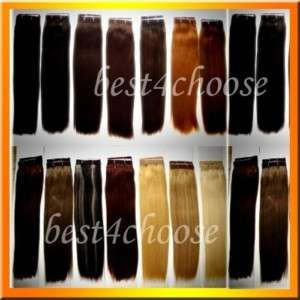 22Clip In Human Hair Extensions Brown Bonde Black Red