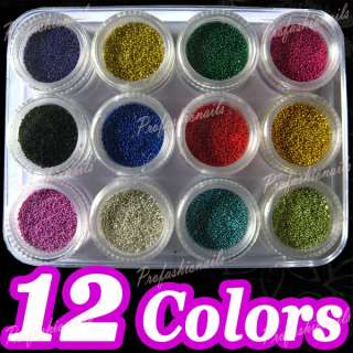 12 Color Tiny Pearl Mini Ball Nail Art Glitter Manicure