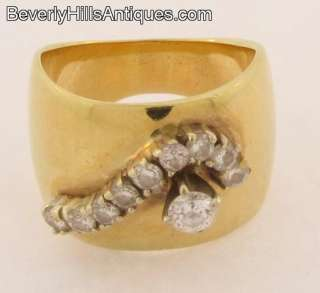Wide Band 14k Yellow Gold Designer Ring Set With 10 Diamonds 1/2 carat