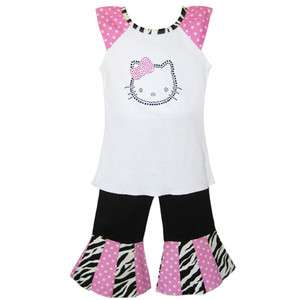 AnnLoren Girls Boutique Hello Kitty Cap sleeve shirt & pants Outfit